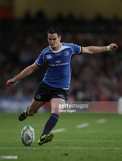 Jonny Sexton of Leinster kicks a penalty during the Heineken Cup Final match between Leinster and Northampton Saints at the Millennium Stadium on May...
