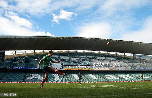 Jonny Sexton of the Lions practices his kicking during a British Irish Lions training session at Allianz Stadium on June 14 2013 in Sydney Australia