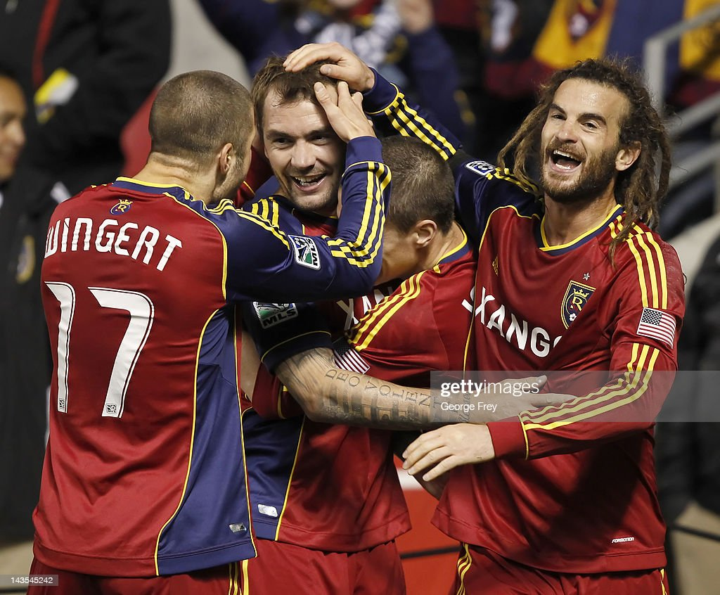 Jonny Steele #22 of Real Salt Lake celebrates his game winning goal with <a gi-track='captionPersonalityLinkClicked' href=/galleries/search?phrase=Kyle+Beckerman&family=editorial&specificpeople=578059 ng-click='$event.stopPropagation()'>Kyle Beckerman</a> #5, Chris Wingert #17 and Will Johnson #8 during a game against Toronto FC during the second half of an MLS soccer game April 28, 2012 at Rio Tinto Stadium in Sandy, Utah. Real Salt Lake beat Toronto FC