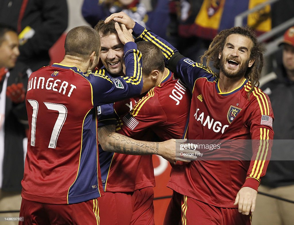 Jonny Steele of Real Salt Lake celebrates his game winning goal with Kyle Beckerman Chris Wingert and Will Johnson during a game against Toronto FC...