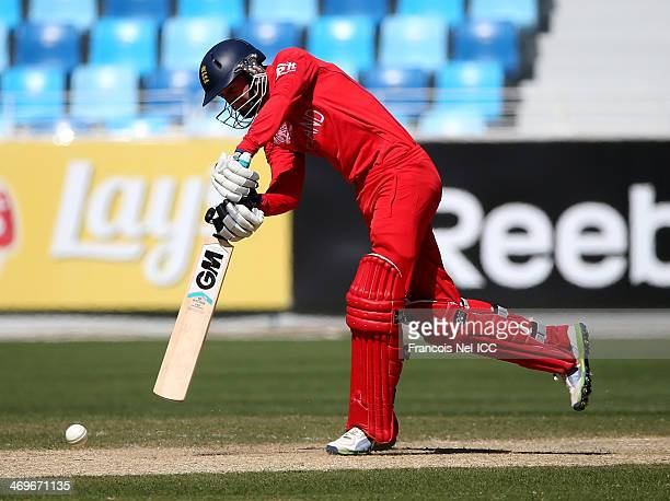 Jonny Tattersall of England bats during the ICC U19 Cricket World Cup 2014 match between England and Sri Lanka at the Dubai Sports City Cricket...