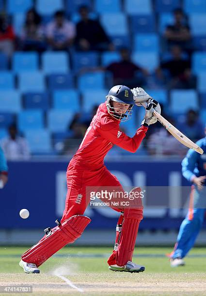 Jonny Tattersall of England bats during the ICC U19 Cricket World Cup 2014 Quarter Final match between England and India at the Dubai Sports City...
