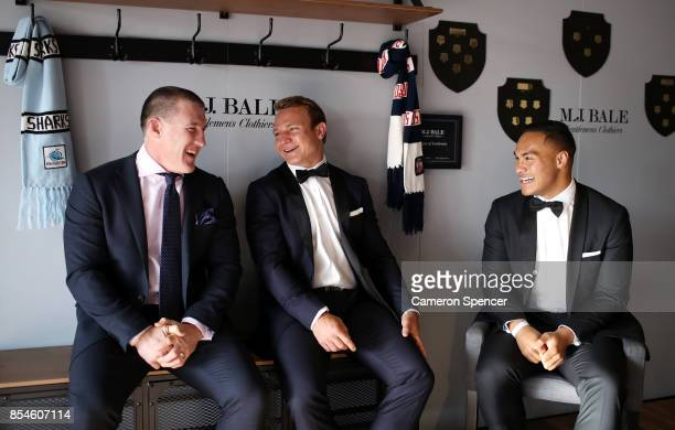 Jonny TuivasaSheck of the Roosters interviews Paul Gallen of the Sharks and Jake Friend of the Roosters during the MJ Bale Dally M League Of...