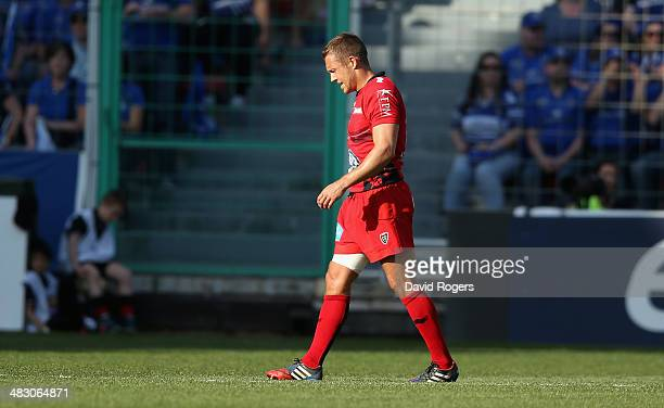 Jonny Wilkiinson of Toulon walks off the pitch after receiving a leg injury during the Heineken Cup quarter final match between Toulon and Leinster...