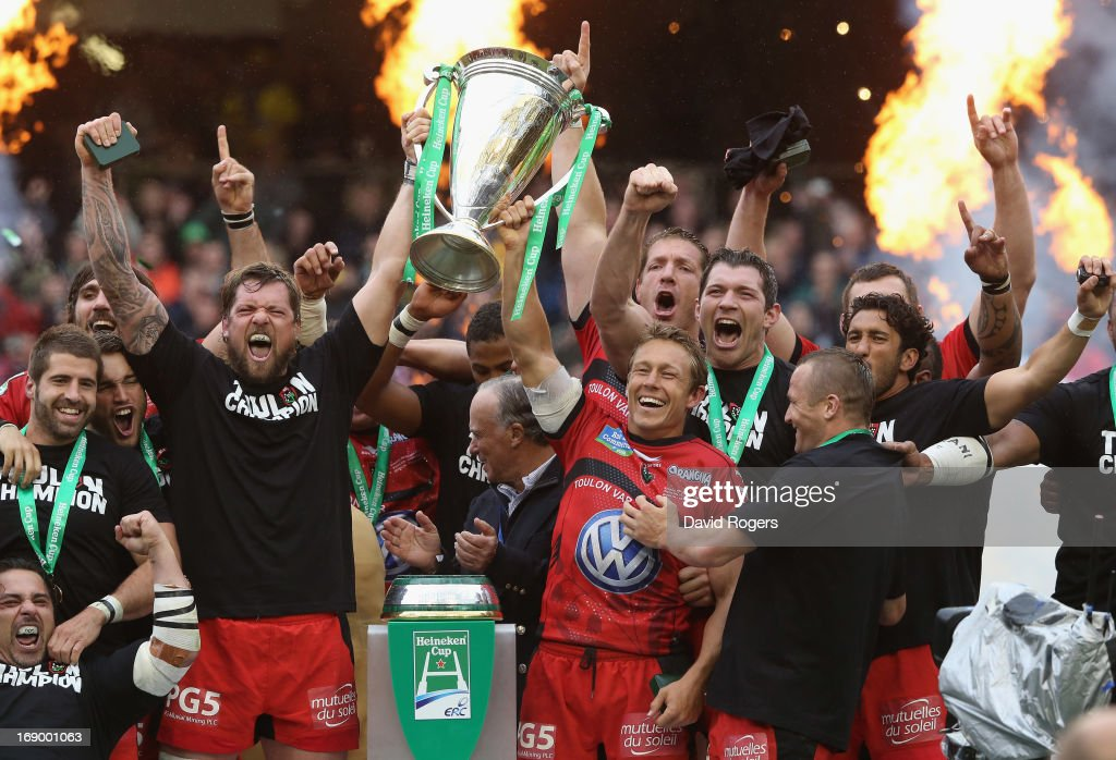 <a gi-track='captionPersonalityLinkClicked' href=/galleries/search?phrase=Jonny+Wilkinson&family=editorial&specificpeople=159417 ng-click='$event.stopPropagation()'>Jonny Wilkinson</a> (R) and <a gi-track='captionPersonalityLinkClicked' href=/galleries/search?phrase=Joe+van+Niekerk&family=editorial&specificpeople=225015 ng-click='$event.stopPropagation()'>Joe van Niekerk</a> of Toulon raise the Heineken Cup after their victory during the Heineken Cup final match between ASM Clermont Auvergne and RC Toulon at the Aviva Stadium on May 18, 2013 in Dublin, Ireland.