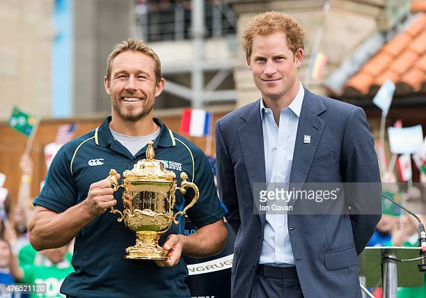 Jonny Wilkinson and Prince Harry attend the launch of the Rugby World Cup Trophy Tour 100 days before the Rugby World Cup at Twickenham Stadium on...