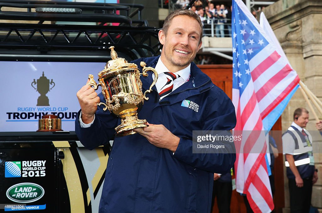 <a gi-track='captionPersonalityLinkClicked' href=/galleries/search?phrase=Jonny+Wilkinson&family=editorial&specificpeople=159417 ng-click='$event.stopPropagation()'>Jonny Wilkinson</a> delivers the Webb Ellis Trophy to the stadium prior to the 2015 Rugby World Cup Pool A match between England and Fiji at Twickenham Stadium on September 18, 2015 in London, United Kingdom.