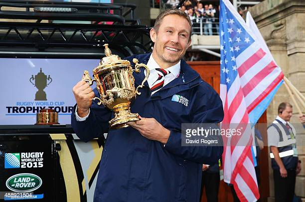 Jonny Wilkinson delivers the Webb Ellis Trophy to the stadium prior to the 2015 Rugby World Cup Pool A match between England and Fiji at Twickenham...