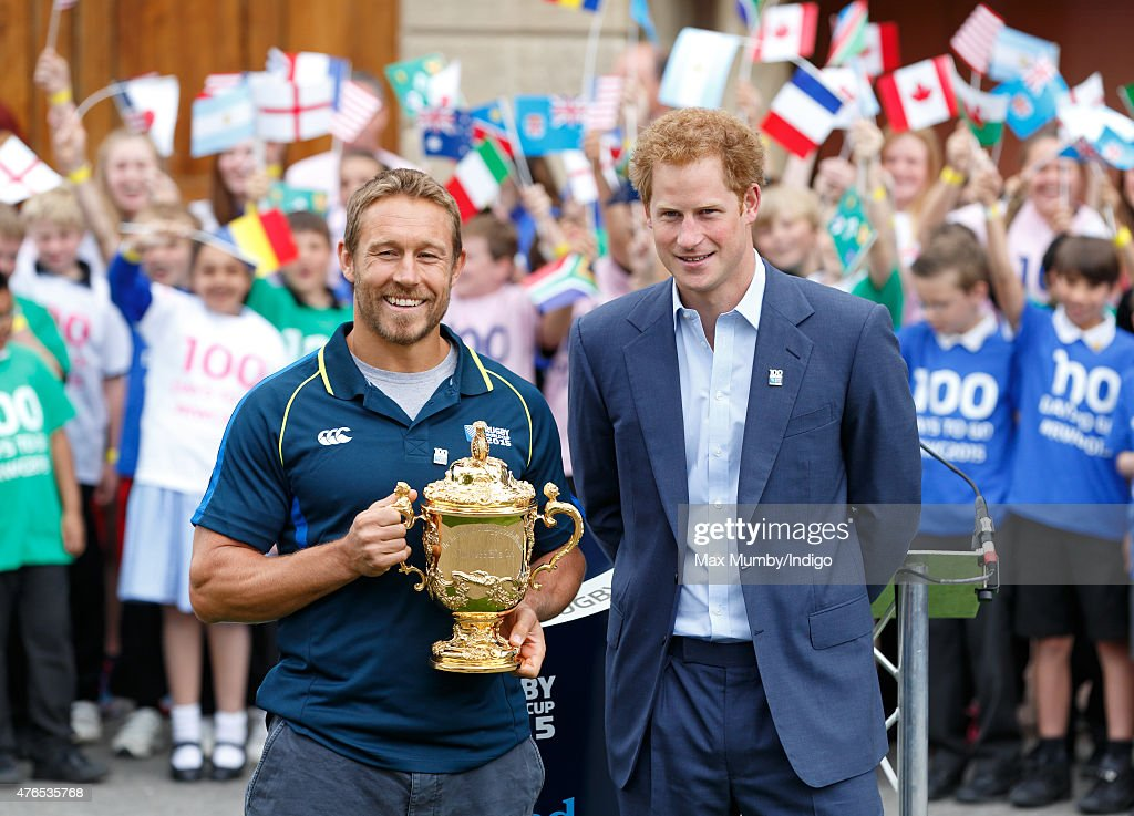 Jonny Wilkinson holds the Webb Ellis Cup as he and Prince Harry attend the launch of the Rugby World Cup Trophy Tour, 100 days before the Rugby World Cup at Twickenham Stadium on June 10, 2015 in London, England.
