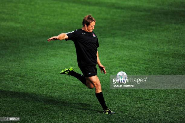 Jonny Wilkinson of England in action during the England IRB Rugby World Cup 2011 captain's run at Otago Stadium on September 9 2011 in Dunedin New...