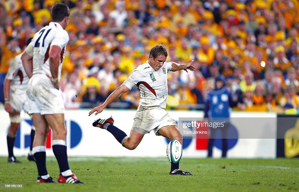 <a gi-track='captionPersonalityLinkClicked' href=/galleries/search?phrase=Jonny+Wilkinson&family=editorial&specificpeople=159417 ng-click='$event.stopPropagation()'>Jonny Wilkinson</a> of England kicks the winning drop-goal against Australia in the 2003 Rugby World Cup Final at the Telstra Stadium on November 22nd 2003 in Sydney, Australia (Photo by Tom Jenkins/Getty Images). An image from the book 'In The Moment' published June 2012