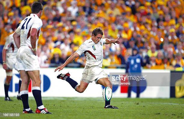 Jonny Wilkinson of England kicks the winning dropgoal against Australia in the 2003 Rugby World Cup Final at the Telstra Stadium on November 22nd...