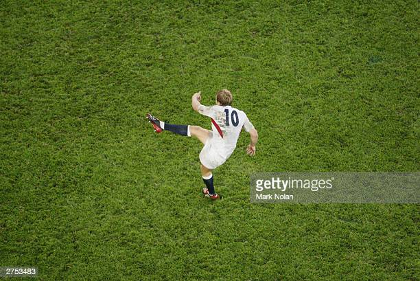 Jonny Wilkinson of England kicks the winning field goal during the Rugby World Cup Final match between Australia and England at Telstra Stadium...