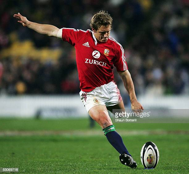 Jonny Wilkinson of the Lions kicks during the match between British and Irish Lions and Wellington at the the Westpac Stadium on June 15 2005 in...