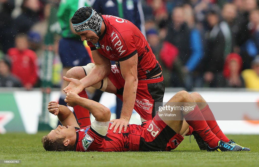 <a gi-track='captionPersonalityLinkClicked' href=/galleries/search?phrase=Jonny+Wilkinson&family=editorial&specificpeople=159417 ng-click='$event.stopPropagation()'>Jonny Wilkinson</a> of Toulon and <a gi-track='captionPersonalityLinkClicked' href=/galleries/search?phrase=Nick+Kennedy&family=editorial&specificpeople=557043 ng-click='$event.stopPropagation()'>Nick Kennedy</a> (r) of Toulon react to their team's victory as the final whistle is blown at the end of the Heineken Cup final match between Clermont Auvergne and RC Toulon at the Aviva Stadium on May 18, 2013 in Dublin, Ireland.
