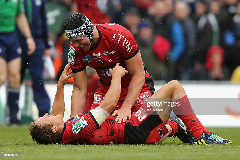 Jonny Wilkinson of Toulon and Nick Kennedy (r) of Toulon react to their team's victory as the final whistle is blown at the end of the Heineken Cup final match between Clermont Auvergne and RC Toulon at the Aviva Stadium on May 18, 2013 in Dublin, Ireland.