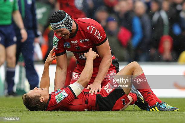 Jonny Wilkinson of Toulon and Nick Kennedy of Toulon react to their team's victory as the final whistle is blown at the end of the Heineken Cup final...