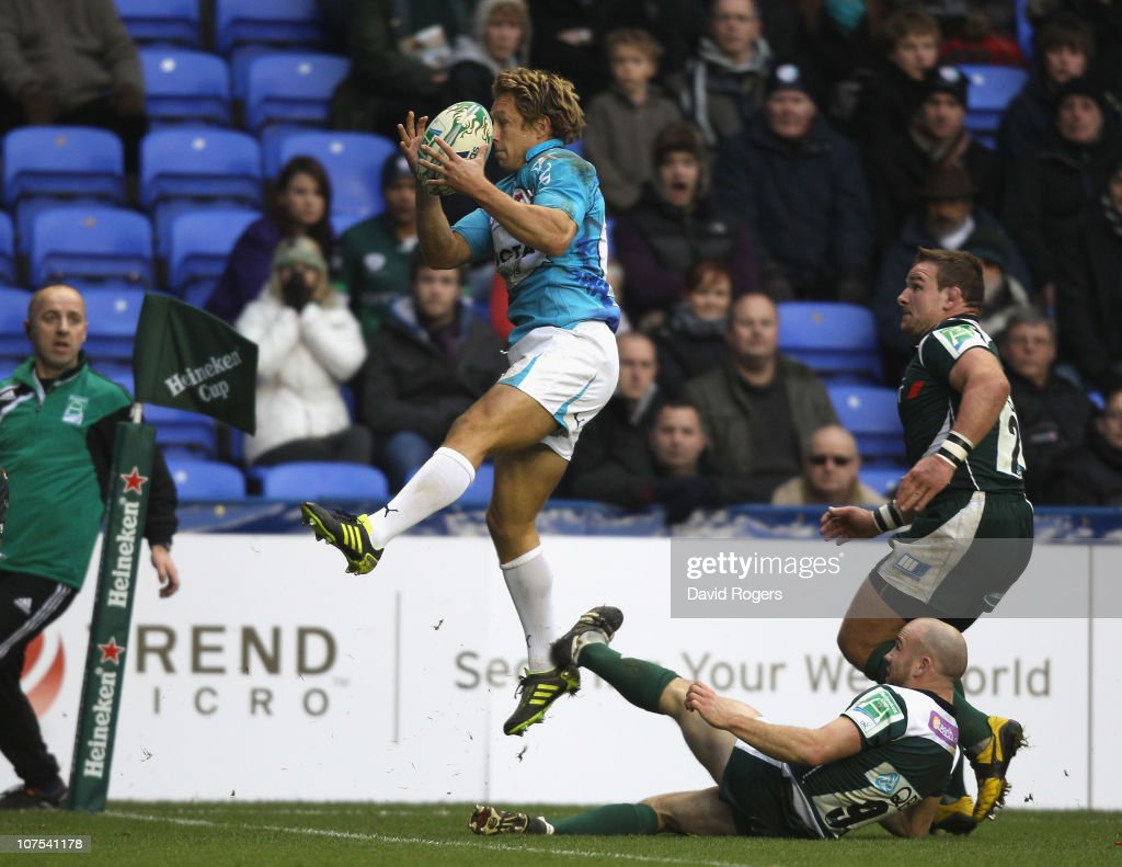 Jonny Wilkinson of Toulon catches the ball but drops it just over the try line during the Heineken Cup Pool 3 match between London Irish and Toulon at Madejski Stadium on December 12, 2010 in Reading, England.