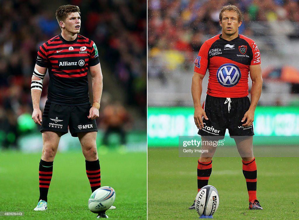 IMAGES - Image Numbers 185357509 (L) and 145653489) In this composite image a comparison has been made between Fly Halfs Owen Farrell of Saracens (L) and Jonny Wilkinson of Toulon. Toulon and Saracens meet in the Heineken Cup Final on May 24,2014 at the Millennium Stadium,Cardiff,Wales. Jonny Wilkinson of Toulon in action during the French Top 14 Semi Final match between ASM Clermont Auvergne and RC Toulon at the Stade de Toulouse on June 3, 2012 in Toulouse, France.