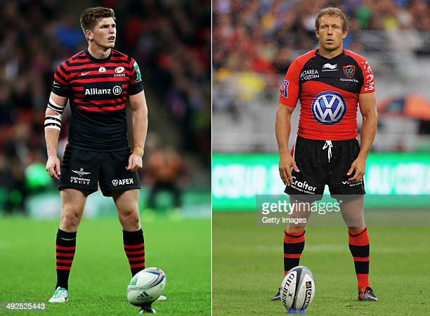 IMAGES Image Numbers 185357509 and 145653489 In this composite image a comparison has been made between Fly Halfs Owen Farrell of Saracens and Jonny...