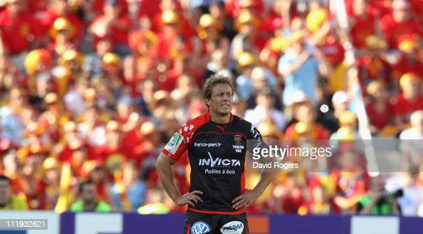 Jonny Wilkinson of Toulon looks dejected after his team are defeated during the Heineken Cup quarter final match between Perpignan and Toulon at the...