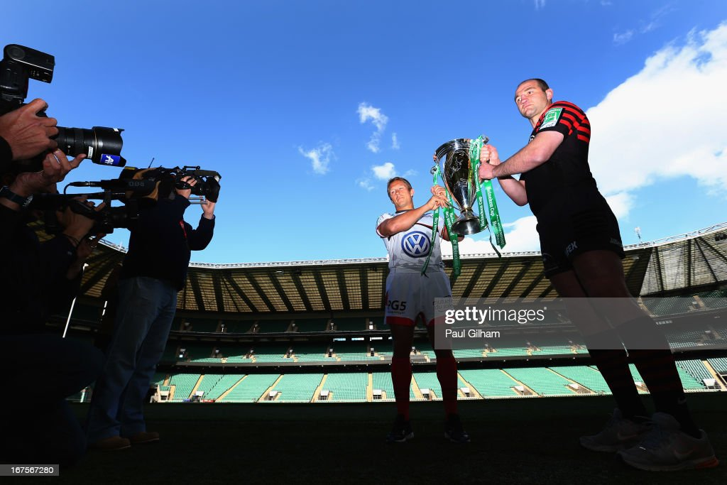 Jonny Wilkinson of Toulon poses alongside Steve Borthwick of Saracens during previews to the Heineken Cup Semi-Final match between Saracens and Toulon at Twickenham Stadium on April 26, 2013 in London, England.