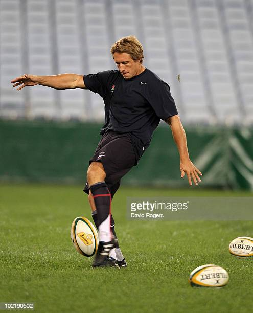 Jonny Wilkinson practices his kicking during the England training kicking session held at the ANZ Stadium on June 18 2010 in Sydney Australia