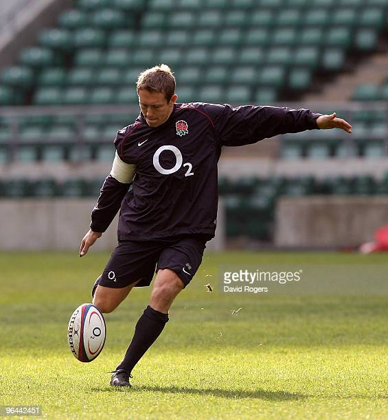 Jonny Wilkinson practices his kicking during the England training session held at Twickenham Stadium on February 5 2010 in London England
