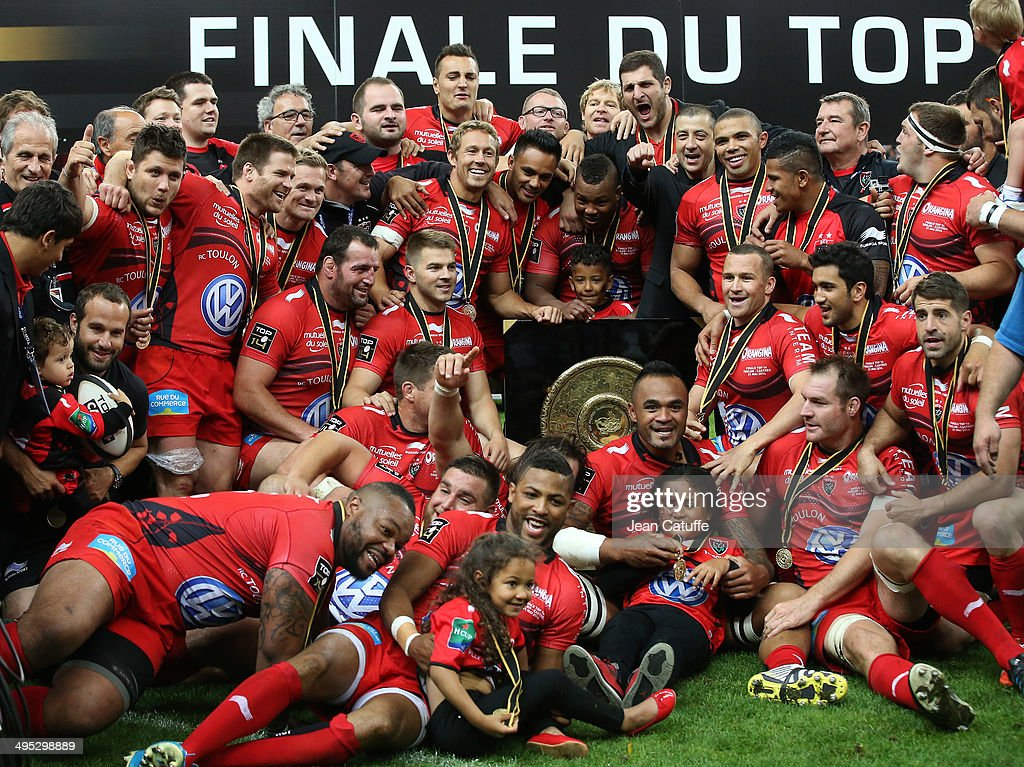 Jonny Wilkinson, Steffon Armitage, owner of RC Toulon Mourad Boudjellal, Bryan Habana, Matt Giteau, Ali Williams of RC Toulon and teammates celebrate the victory with 'Le Bouclier de Brennus' in the Top 14 Final between RC Toulon and Castres Olympique at Stade de France on May 31, 2014 in Saint-Denis near Paris, France.