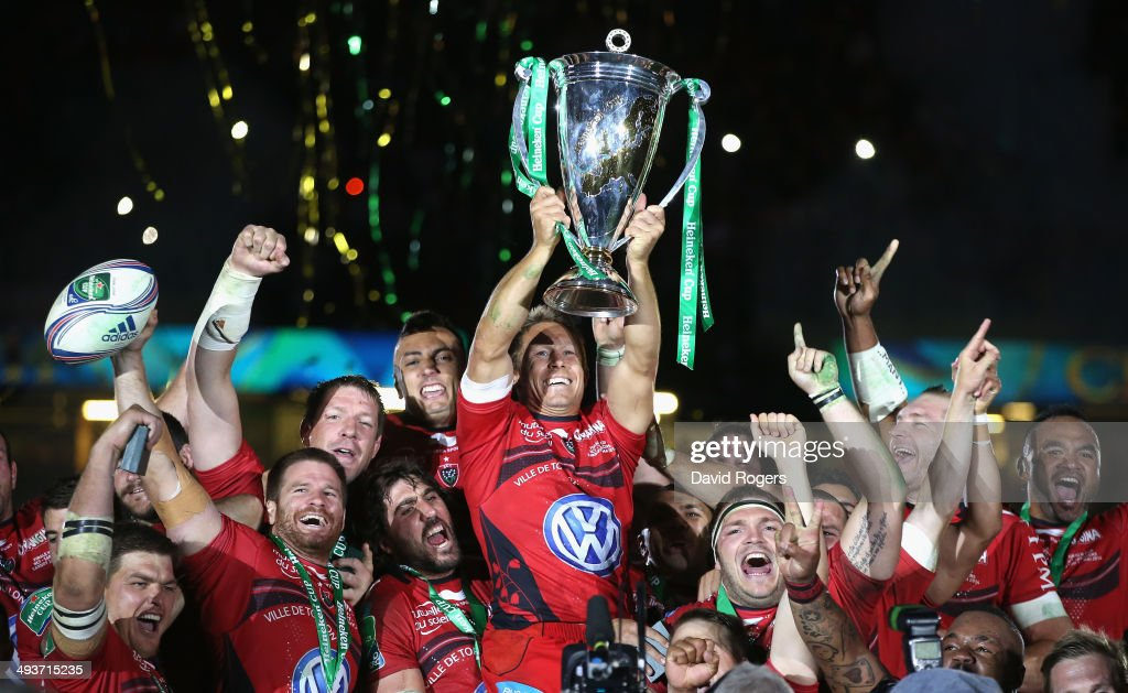 <a gi-track='captionPersonalityLinkClicked' href=/galleries/search?phrase=Jonny+Wilkinson&family=editorial&specificpeople=159417 ng-click='$event.stopPropagation()'>Jonny Wilkinson</a> the Toulon captain, raises the Heineken Cup as his team mates celebrate after their victory during the Heineken Cup Final between Toulon and Saracens at the Millennium Stadium on May 24, 2014 in Cardiff, United Kingdom.