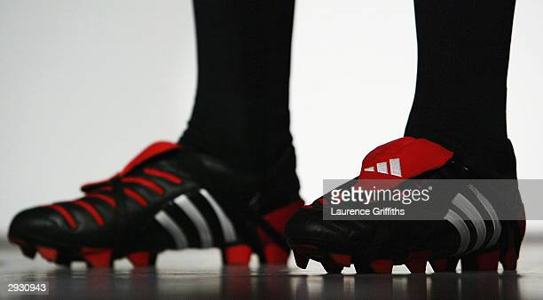 Jonny Wilkinson wearing the new boot at the launch of the new adidas Predator Pulse boot at the adidas Centre on February 5 2004 in Stockport England