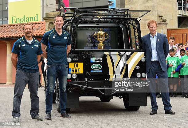 Jonny Wilkinson Will Greenwood and Prince Harry attend the launch of the Rugby World Cup Trophy Tour 100 days before the Rugby World Cup at...