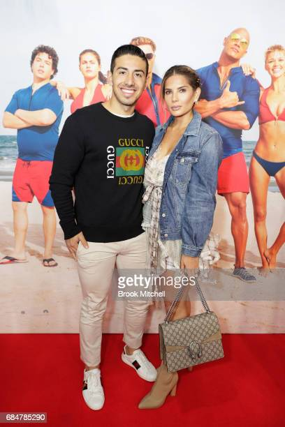 Jono Castano Acero and Amy Maree Comber attend the Australian premiere of 'Baywatch' at Hoyts EQ on May 18 2017 in Sydney Australia