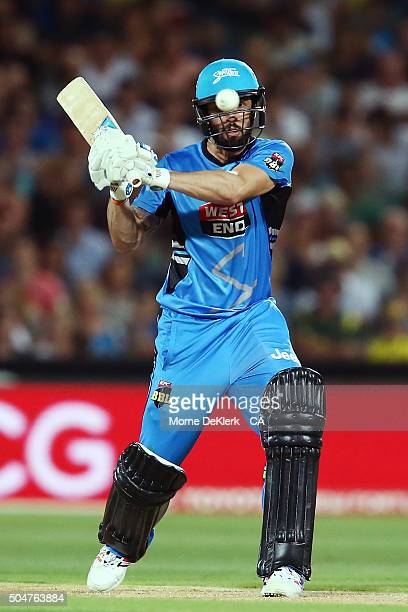 Jono Dean of the Adelaide Strikers bats during the Big Bash League match between the Adelaide Strikers and the Hobart Hurricanes at Adelaide Oval on...