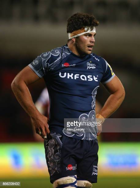 Jono Ross of Sale Sharks during the Aviva Premiership match between Sale Sharks and Gloucester Rugby at AJ Bell Stadium on September 29 2017 in...