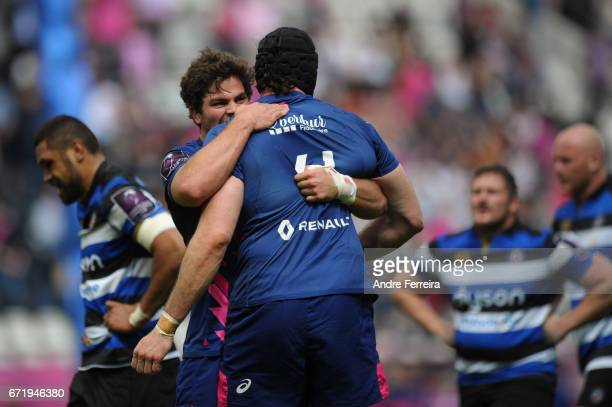 Jono Ross of Stade Francais celebrates with Hugh Pyle of Stade Francais during the European Challenge Cup semi final between Stade Francais and Bath...
