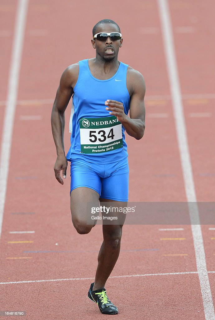 Jonothan Ntutu wins the 200m during day 3 of The Nedbank National Championships for the Physically Disabled (Athletics) at LC de Villiers Stadium on March 25, 2013 in Pretoria, South Africa.