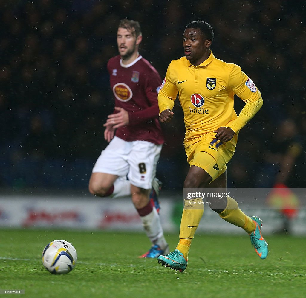 Jon-Paul Pittman of Oxford United in action during the npower League Two match between Oxford United and Northampton Town at Kassam Stadium on November 24, 2012 in Oxford, England.