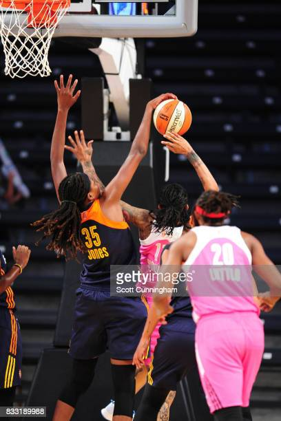 Jonquel Jones of the Connecticut Sun blocks the shot against the Atlanta Dream during at WNBA game on August 15 2017 at Hank McCamish Pavilion in...