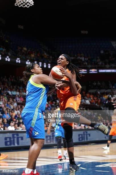 Jonquel Jones of the Connecticut Sun handles the ball against the Dallas Wings on August 12 2017 at Mohegan Sun Arena in Uncasville CT NOTE TO USER...