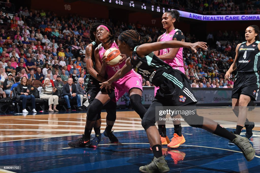 Jonquel Jones #35 of the Connecticut Sun handles the ball during the game against the New York Liberty on August 18, 2017 at the Mohegan Sun Arena in Uncasville, Connecticut.