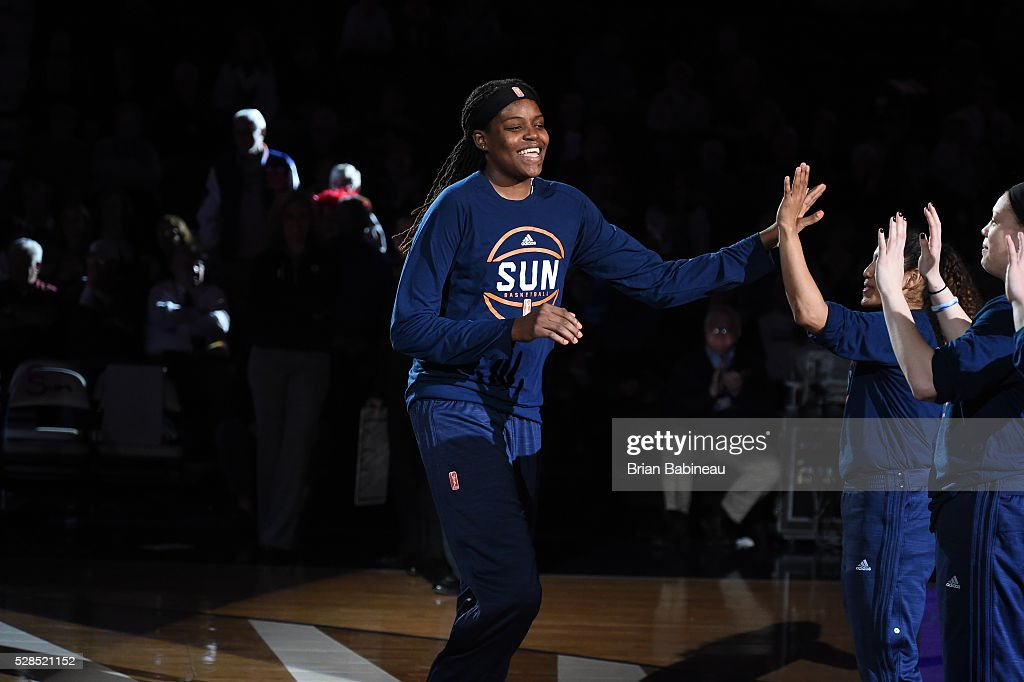Jonquel Jones #35 of the Connecticut Sun is introduced before the game against the San Antonio Stars in a WNBA preseason game on May 5, 2016 at the Mohegan Sun Arena in Uncasville, Connecticut.