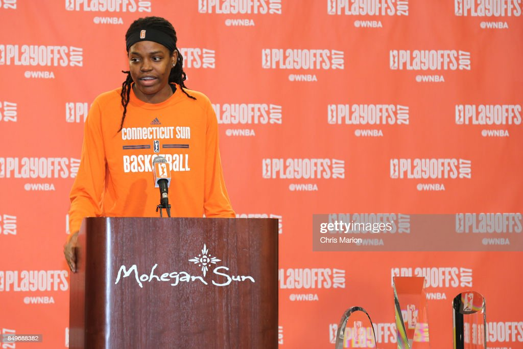 Jonquel Jones #35 of the Connecticut Sun is named the 2017 WNBA Most Improved Player after the game against the Phoenix Mercury in Round Two of the 2017 WNBA Playoffs on September 10, 2017 at Mohegan Sun Arena in Uncasville, CT.