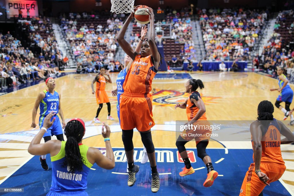 Jonquel Jones #35 of the Connecticut Sun rebounds during the Connecticut Sun Vs Dallas Wings, WNBA regular season game at Mohegan Sun Arena on August 12th, 2017 in Uncasville, Connecticut.