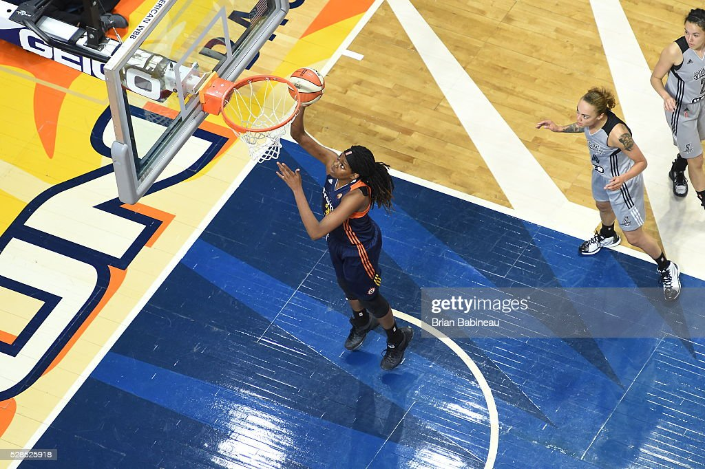 Jonquel Jones #35 of the Connecticut Sun shoots a lay up against the San Antonio Stars in a WNBA preseason game on May 5, 2016 at the Mohegan Sun Arena in Uncasville, Connecticut.