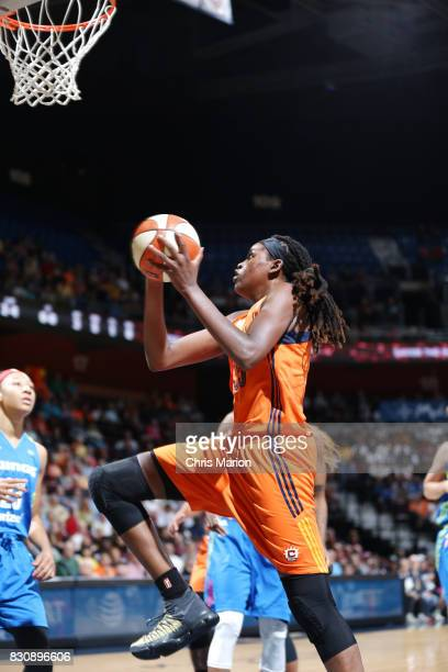 Jonquel Jones of the Connecticut Sun shoots the ball against the Dallas Wings on August 12 2017 at Mohegan Sun Arena in Uncasville CT NOTE TO USER...