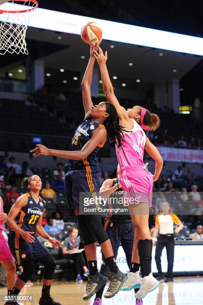 Jonquel Jones of the Connecticut Sun shoots the ball against the Atlanta Dream during at WNBA game on August 15 2017 at Hank McCamish Pavilion in...