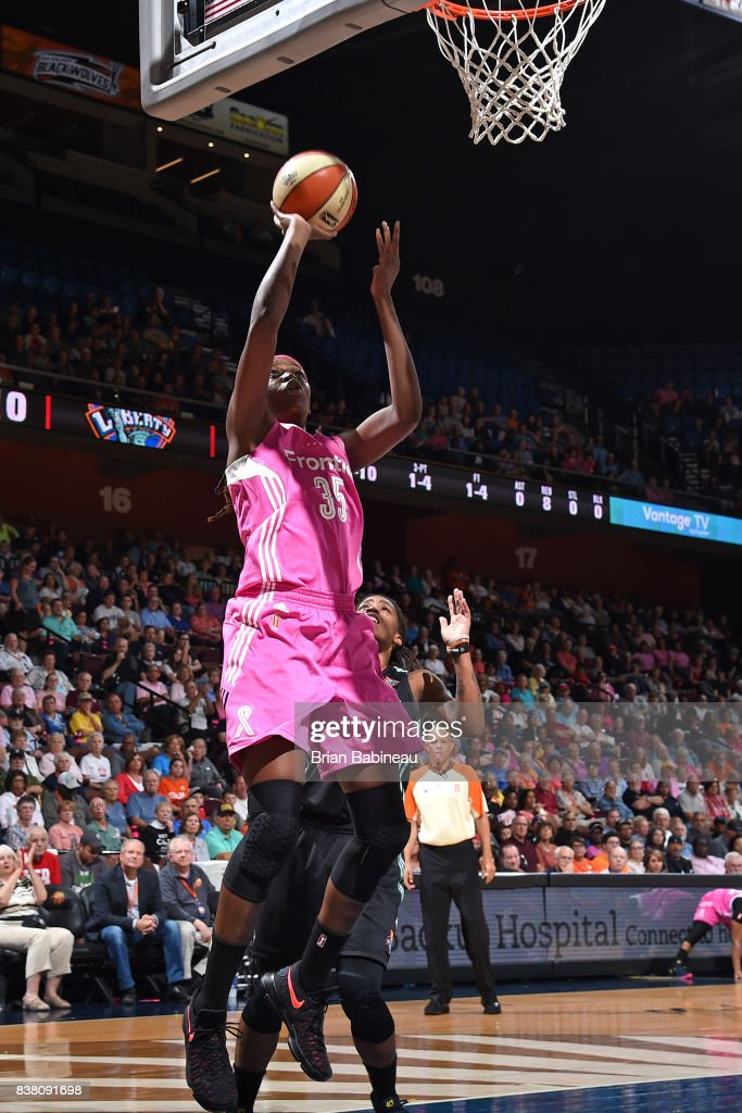 Jonquel Jones #35 of the Connecticut Sun shoots the ball during the game against the New York Liberty on August 18, 2017 at the Mohegan Sun Arena in Uncasville, Connecticut.