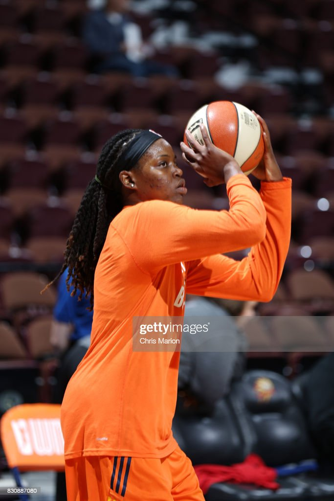 Jonquel Jones #35 of the Connecticut Sun warms up before the game against the Dallas Wings on August 12, 2017 at Mohegan Sun Arena in Uncasville, CT.