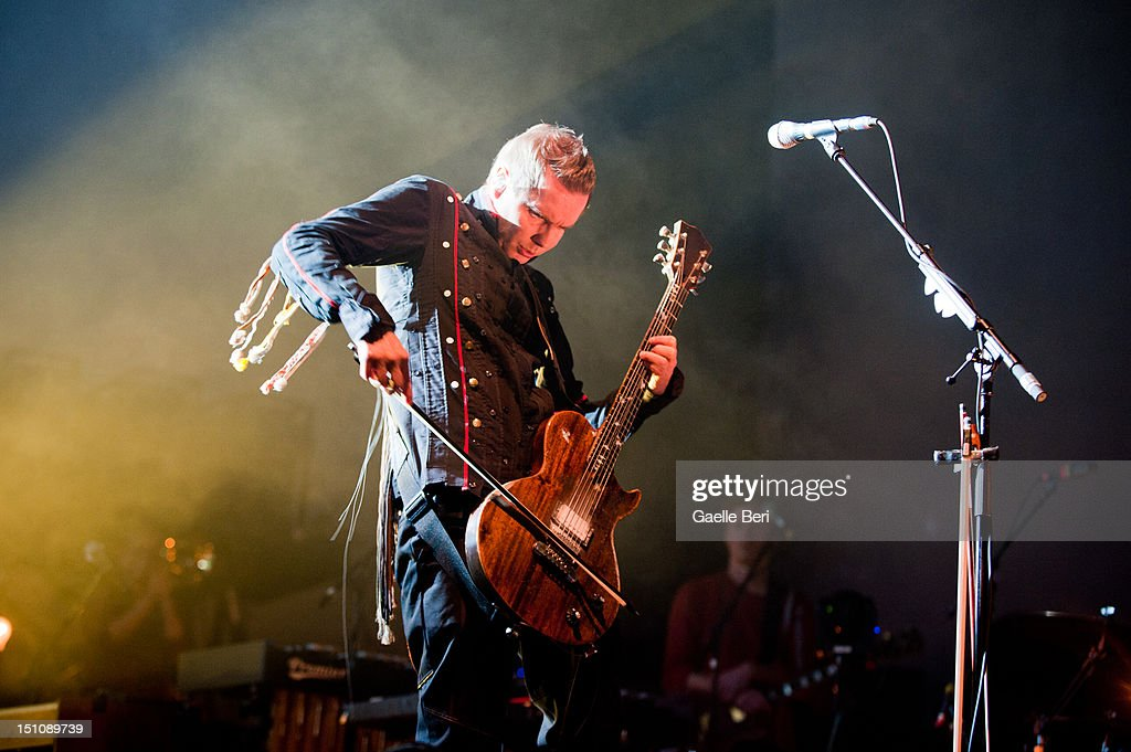 Jonsi Birgisson of Sigur Ros performs on stage during Electric Picnic on August 31, 2012 in Stradbally, Ireland.
